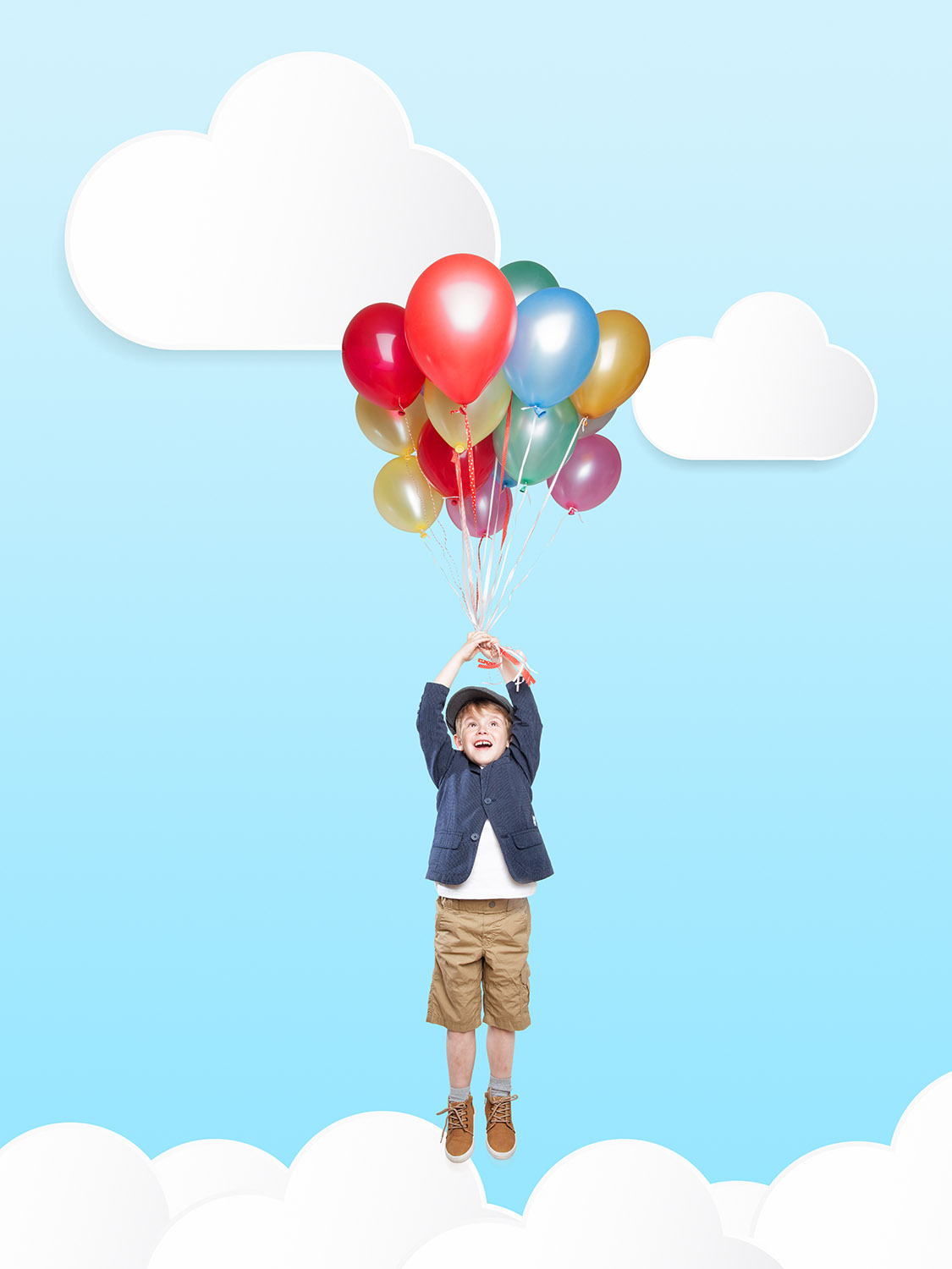 Cute Boy flying in the Clouds