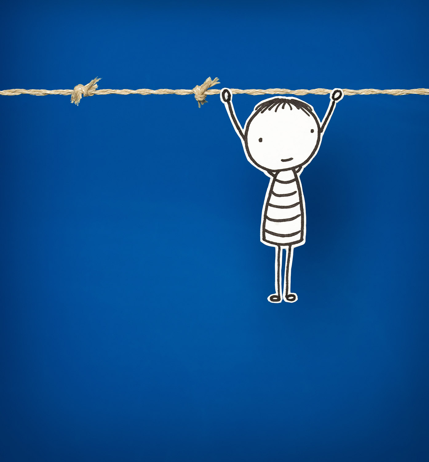Little hand drawn Man - Hanging on. Perseverance