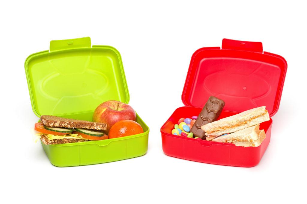 Healthy And Unhealthy School Lunch Box